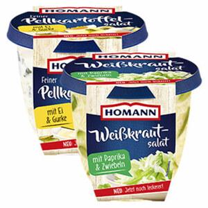 Homann Weißkrautsalat oder Feiner Pellkartoffelsalat und weitere Gemüsesalate, jede 400-g-Packung