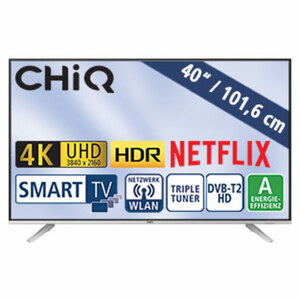 "40""-Ultra-HD-LED-TV U40G5SF • HbbTV • 3 HDMI-/2 USB-Anschlüsse, CI+ • Stand-by: 0,5 Watt, Betrieb: 62 Watt • Maße: H 53,5 x B 91,6 x T 7,9 cm • Energie-Effizienz A (Spektrum A++ bis E)"