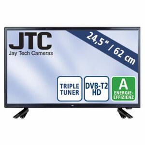 "24""-FullHD-LED-TV Atlantis Travel 2.4 • 2 USB-Eingänge, HDMI-/CI+-Anschluss • Stand-by: 0,5 Watt, Betrieb: 22 Watt • Maße: H 33,4 x B 56,7 x T 8,5 cm • Energie-Effizienz A (Spektrum A++ bis"