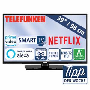 """39""""-FullHD-LED-TV D39F502N4CW • HbbTV, 800-Hertz-Technik • 3 HDMI-/2 USB-Anschlüsse, CI+ • Stand-by: 0,5 Watt, Betrieb: 45 Watt • Maße: H 52,3 x B 88,9 x T 9,7 cm • Energie-Effizienz A+ ("""