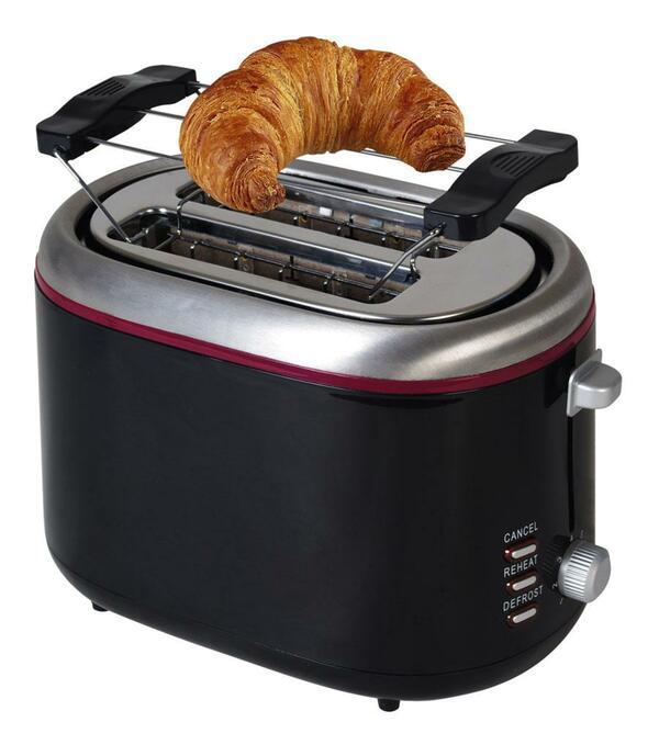 Kalorik 2-Scheiben Design-Toaster TKG TO 1020 Schwarz mit rotem Highlight
