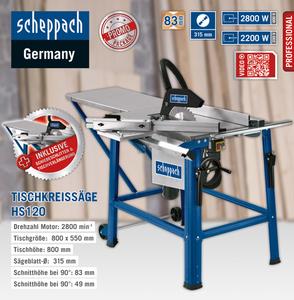 Scheppach Tischkreissäge HS 120 inkl. Schiebeschlitten 2.80 kW 400V 50Hz