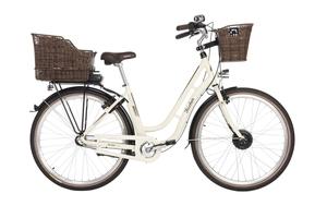 Fischer City-E-Bike Retro ER 1804, 28 Zoll, elfenbein glänzend, inkl. 2 Fahrradkörbe