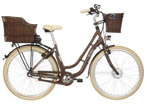 Fischer City-E-Bike Retro ER 1804, 28 Zoll, nussbaum glänzend, inkl. 2 Fahrradkörbe