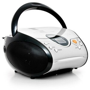Lenco Tragbarer CD-Player SCD-24, FM, LCD, Farbe: Schwarz/Weiß