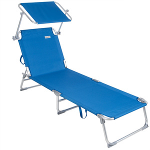 Casaria Sonnenliege Ibiza | Aluminium Sonnendach 190cm Gartenliege Strandliege Alu Liege Freizeitliege | Blau