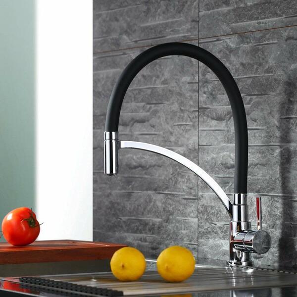 Homelody Küchenarmatur Wasserhahn Küche mit abnehmbarer Brause, schwarz,  395 x 235 mm