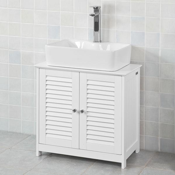 SoBuy® Waschbeckenunterschrank Badschrank Waschtisch Unterschrank,  Weiß,FRG237-W