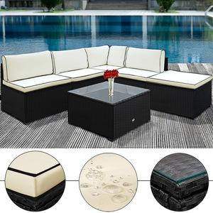 DEUBA® Poly Rattan XXL Lounge Set schwarz   20cm dicke Rückenkissen   frei kombinierbar   UV-beständiges Polyrattan   Glastischplatte   waschbare Bezüge - Couch Sitzgruppe Sitzgarnitur Gartenloun