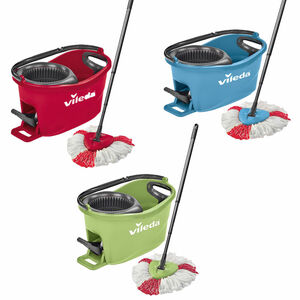 Vileda Wischmop-Set Turbo Easy Wring & Clean incl. Powerschleuder und Fußpedal, Farbe Grün