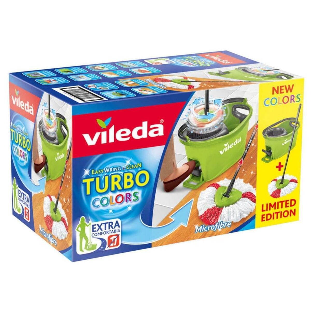 Bild 2 von Vileda Wischmop-Set Turbo Easy Wring & Clean incl. Powerschleuder und Fußpedal, Farbe Grün