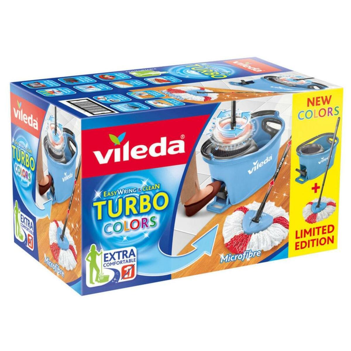 Bild 4 von Vileda Wischmop-Set Turbo Easy Wring & Clean incl. Powerschleuder und Fußpedal, Farbe Grün