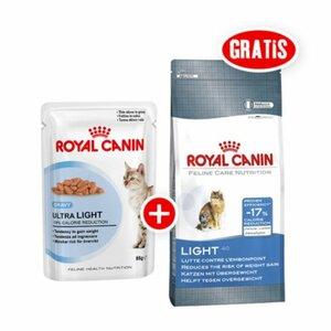 Royal Canin Ultra Light 12x85g + gratis Royal Canin Light 40 400g