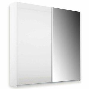Schwebetürenschrank - Glas weiß - mit Spiegel - 0194010100