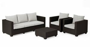 Allibert Lounge-Set Salta 3-Sitzer in Polyrattan-Optik mit Sunbrella-A ...