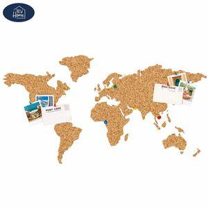 Gestanzte Kork-Weltkarte zum Kleben 102x50,3cm