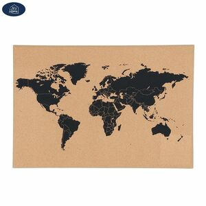 Korkpinnwand mit Weltkarte und 6 Pins
