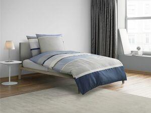 Castell Mako-Satin Bettwäsche Stripes-Design Blau