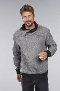 Sweatshirt mit Schalkragen, Farbe dunkelgrau-meliert Coastguard