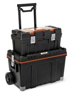 Kombi Werkzeugkoffer auf Rollen mit extra Werkzeugbox und Kleinteile-Magazin
