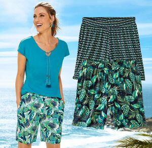 Laura Torelli Classic Damen-Bermudas mit tropischen Blättern