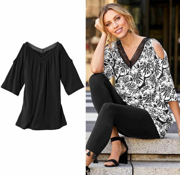 Laura Torelli Classic Damen-T-Shirt mit Schulterschlitz