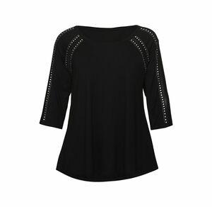 Laura Torelli plus (Gr. 44-58) Damen-T-Shirt mit Schmucknieten, große Größen