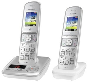 Panasonic schnurlos Telefon KX-TGH722GG ,  mit Anrufbeantworter, silber, zusätzliches Mobilteil