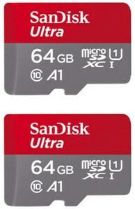Sandisk microSDXC Ultra (64GB) Speicherkarte 2 Stk. + Adapter