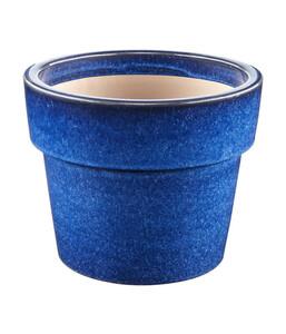 Keramik-Topf, blau glasiert, rund