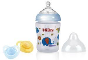 Nuby Weithalsflasche 270ml und Schnuller Blau