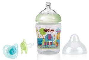 Nuby Weithalsflasche 270ml und Schnuller Grün