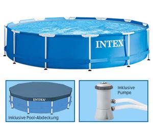 INTEX®  Swimmingpool mit Metallrahmen, Ø ca.: 3,66 m