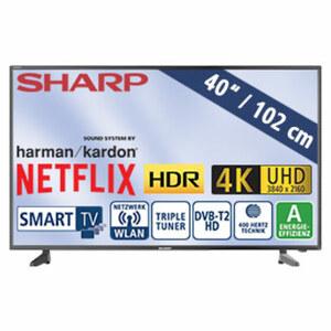 "40""-Ultra-HD-LED-TV 40AJ2E • HbbTV • 3 HDMI-/USB-Anschlüsse, CI+, SD-Kartenslot • 2 x 10 Watt RMS • Stand-by: 0,5 Watt, Betrieb: 62 Watt • Maße: H 54,1 x B 92,1 x T 8,4 cm • Energie-E"