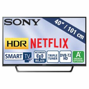 "40""-FullHD-LED-TV KDL-40WE665BAEP • TV-Aufnahme über USB, HbbTV • 2 HDMI-/USB-Anschlüsse, CI+ • Stand-by: 0,5 Watt, Betrieb: 48 Watt • Maße: H 54,3 x B 91 x T 7 cm • Energie-Effizienz"