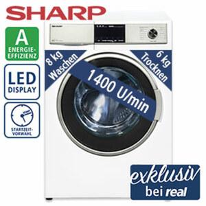 Waschtrockner ES-HDB87W-DE - 15 Programme - Bubble-Drum-Edelstahltrommel für besonders sanfte Wäschepflege - antibakteriell beschichtete Waschtrommel - Maße: H 84,5 x B 59,7 x T 58,2 cm - Energie-