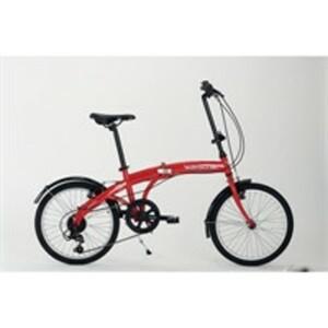 Wayscral Fahrrad Takeway 100, 20 Zoll Klapprad in Rot mit Stahlrahmen, 6-Gang-Schaltung und batteriebetriebener LED-Beleuchtung