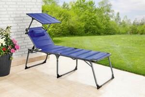 Solax-Sunshine XXL Alu-Komfort-Sonnenliege gepolstert/blau