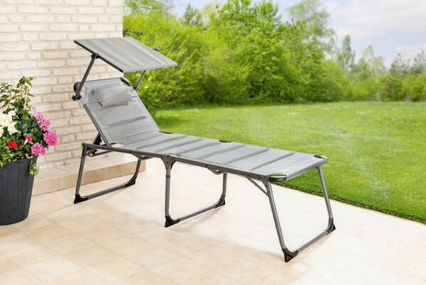 Solax-Sunshine XXL Alu-Komfort-Sonnenliege gepolstert/grau