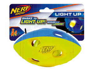 NERF Dog LED Football Gr. M zweifarbig grün/rot