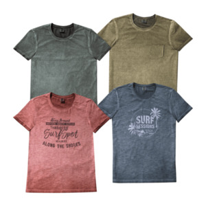 STRAIGHT UP     T-Shirt, oil washed