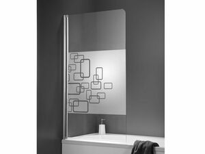 Schulte Rahmenlose Badewannenfaltwand 1-teilig 1400 x 800 mm, chromoptik, Dekor Softcube