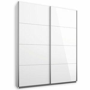 Schwebetürenschrank - Alpinweiß-Glas weiß - 136 cm - 0194019601