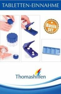 Thomas Hilfen Tabletten-Einnahme-Basis-Set ,  Das Basis-Set Tabletten-Einnahme besteht aus einer Tablettendose, einem Tablettenteiler und einer Tablettenraspel