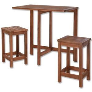 Balkon-Sitzgruppe 3-tlg. Akazien-Holz Tisch und Hocker