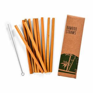 Trinkhalm Bambus, 10 Stück, L:20cm, natur