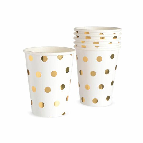 Pappbecher Dots, 8 Stück, 266ml, gold