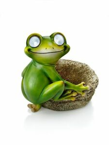 Solar-Frosch mit Pflanztopf