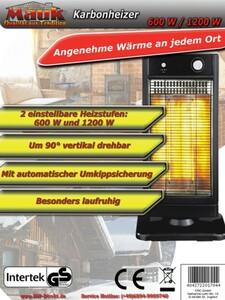 Mauk Karbonheizer 2-stufig 600W und 1200W