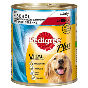 Pedigree Plus mit Fischöl, Rind in Gelee